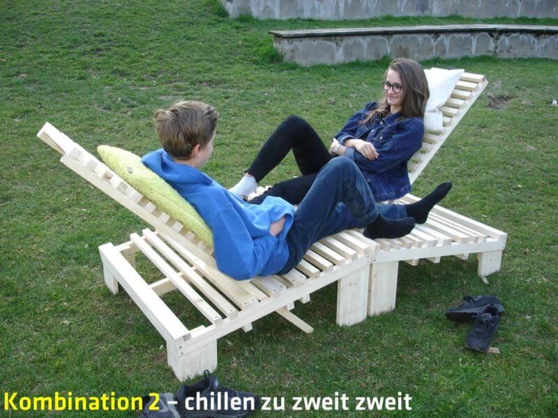 Liegebnke Aus Holz. Great Parkbank Fr Den Garten Modern Holz With ...